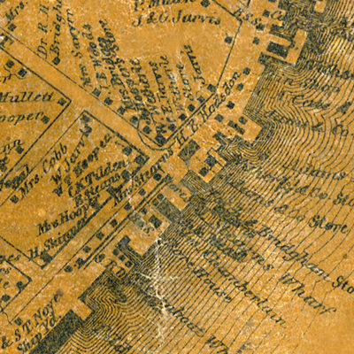 Detail of Castine Village inset from Topographical Map of Hancock County, Maine by H.F. Walling, 1860.
