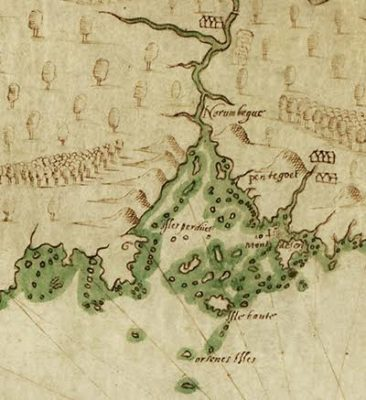 Detail, Descripsion des costs, pts., rades, illes de la Nouuele France faict selon son vray méridien, Samuel de Champlain, 1607, courtesy Library of Congress