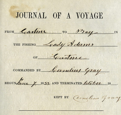 Title page for the logbook of a fishing voyage on the schooner Lady Adams in 1853.