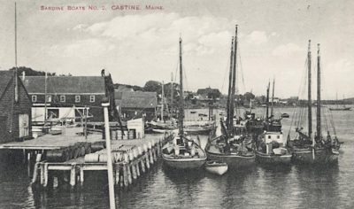 Sardine boats tied up at the Castine wharf.
