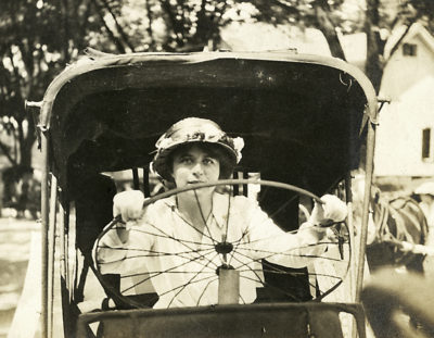 Polly Porter-Dewson at the wheel.