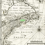 The English Empire in America; Newfound-land. Canada. Hudsons Bay & etc. c 1701 Pentagouet highlighted in green near the center of the map.