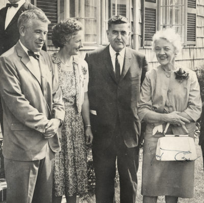 Left to right, Dr. Robert Russell and Doris Russell (hosts at their home in Castine), U.S. Representative Clifford McIntire, and U.S. Senator Margaret Chase Smith, June 30, 1963, photograph by Pratt's Photo Service, loaned by Doris Russell