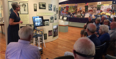"""Curator Paige Lilly gives an exhibit talk for """"Castine's Devoted Women: Partnership and Social Reform 1910-1962"""""""
