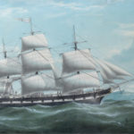Unknown artist, Ship J.P. Whitney, watercolor, private collection. The J.P. Whitney was one of 18 full-rigged ships built in Castine during the 19 th century for global maritime trade.