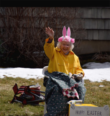 Doris Russell at the 2020 Castine Easter Parade. Photo by Jean diSabatino