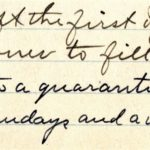 An excerpt from the 1918 annual meeting minutes of what is now the Unitarian Universalist Congregation of Castine referencing the quarantine in place due to the 1918-19 influenza epidemic. The record book is part of the UUCC Archives in the Castine Historical Society collection.