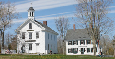 Castine Historical Society campus with cyclists