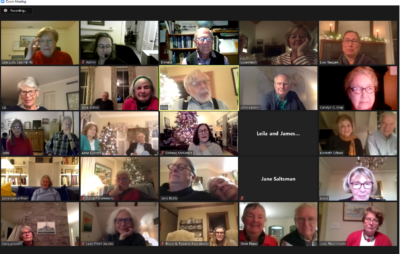"""Some of the attendees of the """"Castine In-Cider"""" Zoom event."""