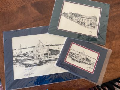 Three matted and signed prints of Castine by noted Newburyport artist Ed Des Jardins. Donated by Ed Des Jardins