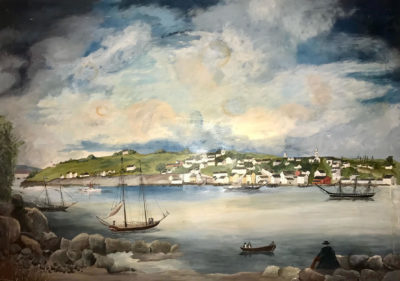"""Kathleen """"Billy"""" Washburn was a folk artist who lived in Orrington, Maine. Her primitive painting style lent itself to historical scenes such as this lovely interpretive view of Castine in centuries past. Donated by Jim and Leila Day."""