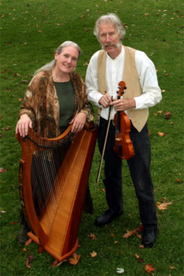 Castlebay singers Julia Lane, who also plays the Celtic harp, and Fred Gosbee, who plays the 12-string guitar, violin, and woodwinds